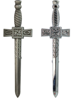 Sword Thistle Kilt Pin Chrome and Antique Finish 2 styles