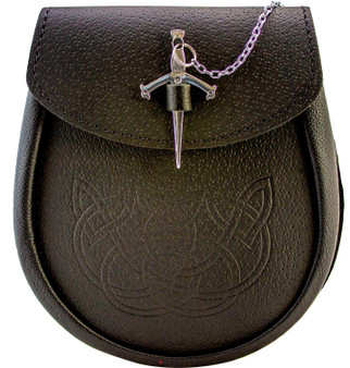 Day Sporran Traditional Scottish Black Leather Embossed Celtic Knot design with Traditional Sword Lid Fastener
