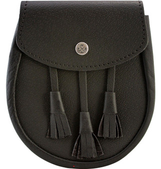 Day Sporran Traditional Scottish Black Leather with Leather Tassels Celtic Knot button