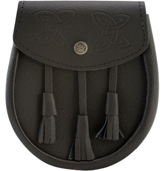 Day Sporran Traditional Scottish Black Leather Embossed Celtic Knot Lid and Button