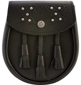 Day Sporran Traditional Scottish Black Leather Embossed & Studded Celtic Knot Lid