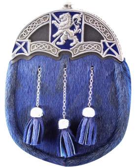 Full Dress Kilt Sporran Scottish Blue Fur Rampant Lion Saltire Polished Enamelled Finish