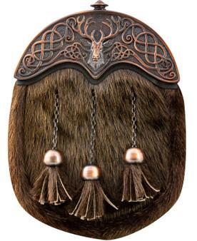 Full Dress Kilt Sporran Scottish Brown Fur Stag Celtic Design Cantle Chocolate Bronze Finish
