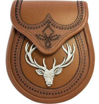Day Sporran Traditional Scottish Tan Leather with Stag Metal Badge in Antique Finish