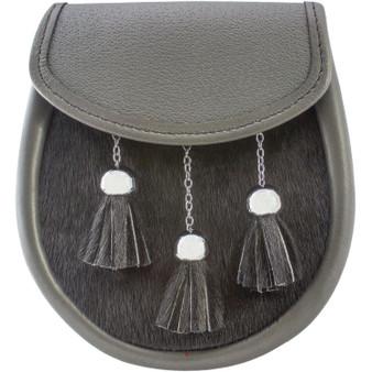 Semi Dress Sporran Grey Leather Black Fur Body Polished chrome Ball and Chain