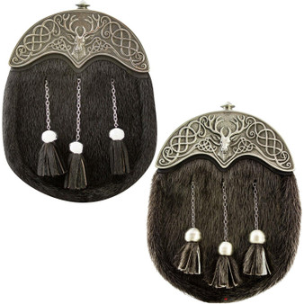 Full Dress Kilt Sporran Scottish Black Fur Stag Celtic design Cantle Scottish Made