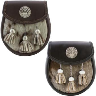 Semi Dress Sporran Fur Pewter Irish Claddagh Badge 2 Colours Scottish Made