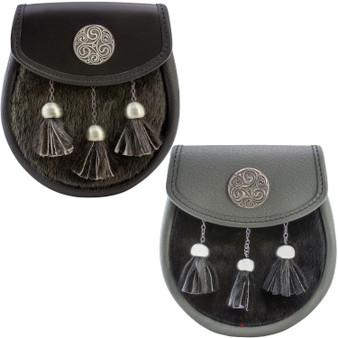 Semi Dress Sporran Fur Pewter Triskell Badge 2 Colours Scottish Made
