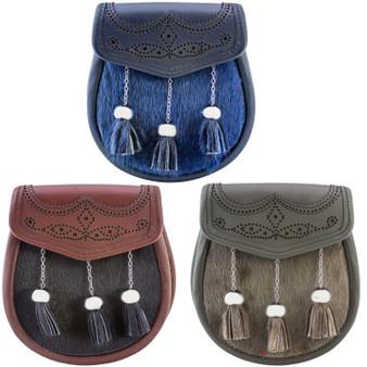Semi Dress Sporran Fur 3 Colours Broguing on Lid Scottish Made