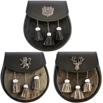 Semi Dress Sporran Pewter Badge Black Fur 3 Styles Scottish Made