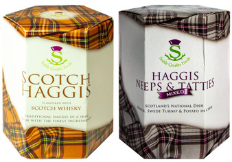 Scottish Haggis Scotch Whisky Flavour and Neeps & Tatties Haggis Mix Tin Selection of 2 Tins Made in Scotland