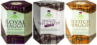 Scottish Haggis 3 Pack: Traditional with Venison, Neeps & Tatties Haggis Mix, and Scotch Whisky Flavour Haggis