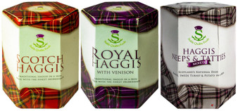 Scottish Haggis 3 Pack: Traditional, Traditional with Venison, and Traditional with Neeps & Tatties Haggis Mix