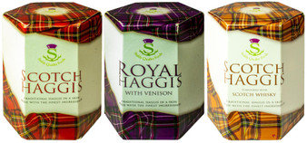 Scottish Haggis 3 Pack: Traditional, Traditional with Venison, and Scotch Whisky Flavour Haggis