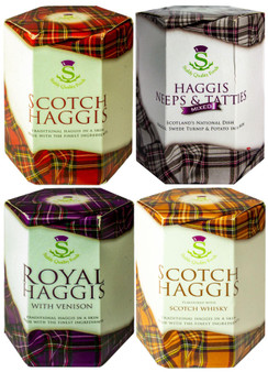 Scottish Haggis Selection 4 Pack: Original, with Venison, Neeps & Tatties Haggis Mix, and Scotch Whisky Flavour