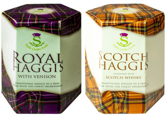 Scottish Venison Haggis and Scotch Whisky Haggis Tin Selection of 2 Tins Made in Scotland