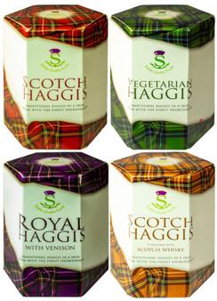 Scottish Haggis Selection 4 Pack: Original, with Venison, Scotch Whisky Flavour, and Vegetarian