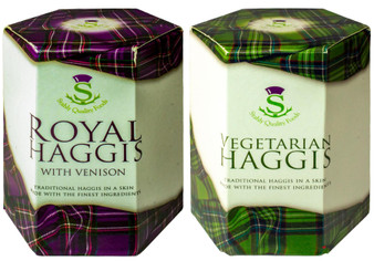 Scottish Venison Haggis with and Vegetarian Haggis Tin Selection of 2 Tins Made in Scotland