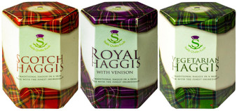 Scottish Haggis 3 Pack: Traditional, Traditional with Venison, and Vegetarian Haggis
