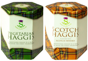Scottish Vegetarian Haggis and Scotch Whisky Haggis Tin Selection of 2 Tins Made in Scotland