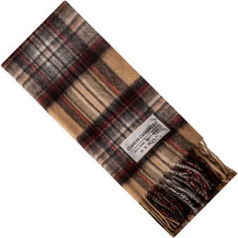 Luxury 100% Cashmere Scottish Clan Scarf Stewart Camel Modern