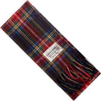 Luxury 100% Cashmere Scottish Clan Scarf Stewart Black Modern