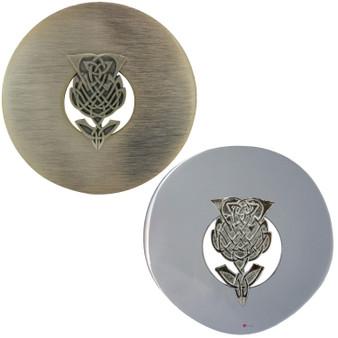 Scottish Fly Plaid Brooch Celtic Knot Thistle Design