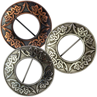Scottish Fly Plaid Pewter Brooch Celtic Knot Design 3 Finishes