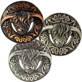 Scottish Fly Plaid Pewter Brooch Highland Cow Celtic Knot 3 Finishes