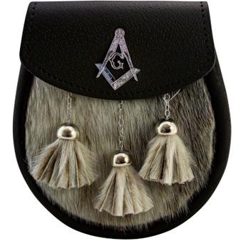 Semi Dress Sporran With Masonic Badge on Lid Black Leather Seal
