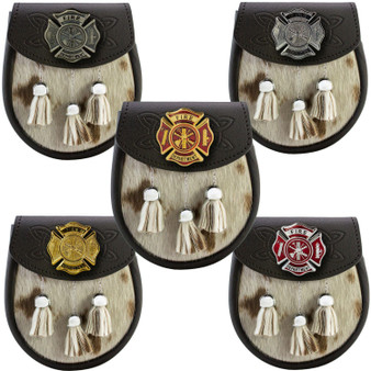 Semi Dress Sporran Fire Department Metal Badge Emblem 5 Styles