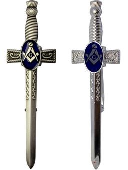 Masonic Sword Kilt Pin Thistle Handle Freemason Antique & Polished Finish