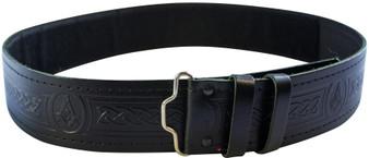 Masonic Velcro Kilt Belt Freemason Hide Embossed Leather Scottish Made