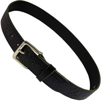 "Masonic Trouser Belt Hide Freemason Embossed Leather 1.5"" Scottish Made"