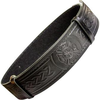 Fire Dept Genuine Leather Hide Velcro Kilt Belt Made In Scotland