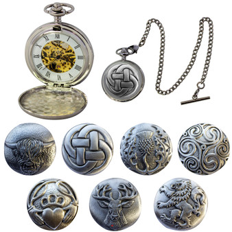 Mechanical Pocket Watch Scottish 7 Design Double Hunter Skeleton with T-Bar Chain