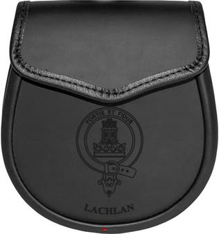 Lachlan Leather Day Sporran Scottish Clan Crest