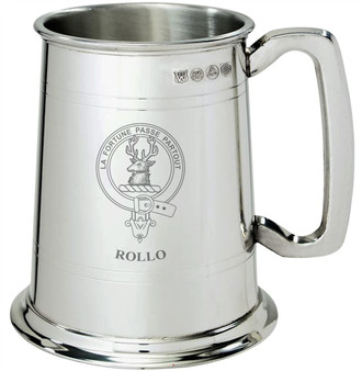 Rollo Clan Crest Tankard 1 Pint Pewter