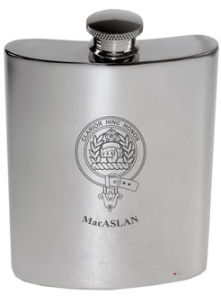 MacAslan Family Crest 6oz Polished Pewter Kidney Flask