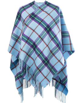 Lambswool Mini Cape In World Peace Tartan Design 120cm Wide