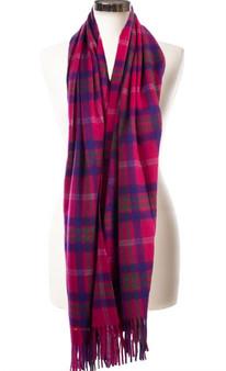 Cashmere Stole In Taransay-Pink Tartan Design 71cm Wide