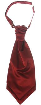Gents Traditional Scottish Ruche Cravat Satin Tie Wedding Groom Burgundy