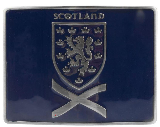 Scottish Kilt Belt Buckle In Blue Rampant Lion And Saltire Design