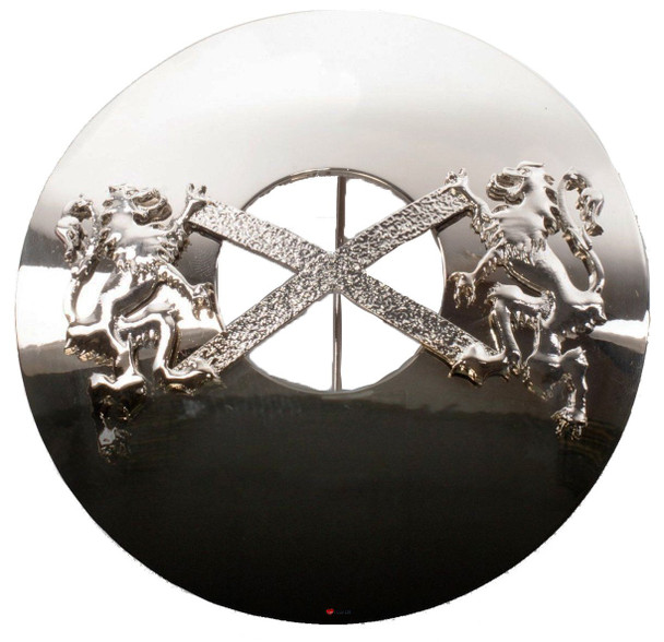 Saltire Plaid Brooch for Scottish Traditional Dress Pewter Chrome Finish