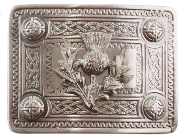 Metal Scottish Belt Buckle With Raised Thistle With Chrome Finish