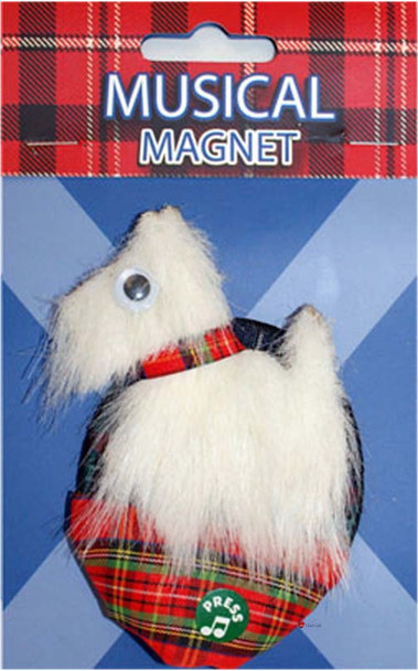 Scottish Musical Fridge Magnet Scottie White Design on a Musical Fridge Magnet