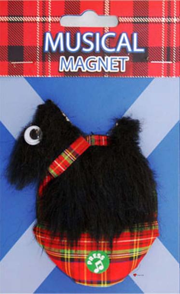 Scottish Musical Fridge Magnet Scottie Black Design on a Musical Fridge Magnet