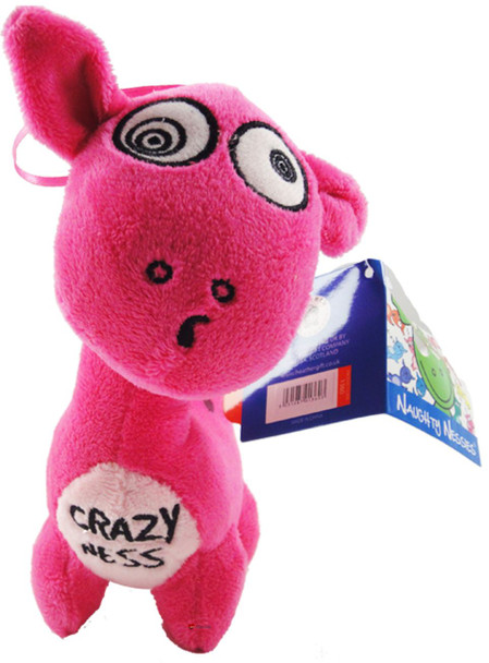 6.5 Inch Greeen Happy Nessie Childrens Cute Pink Soft Toy Crazy Ness