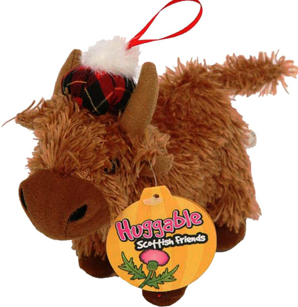 Adorable Cute Childrens Fluffy Soft Highland Cow Toy with a Tammmy Hat