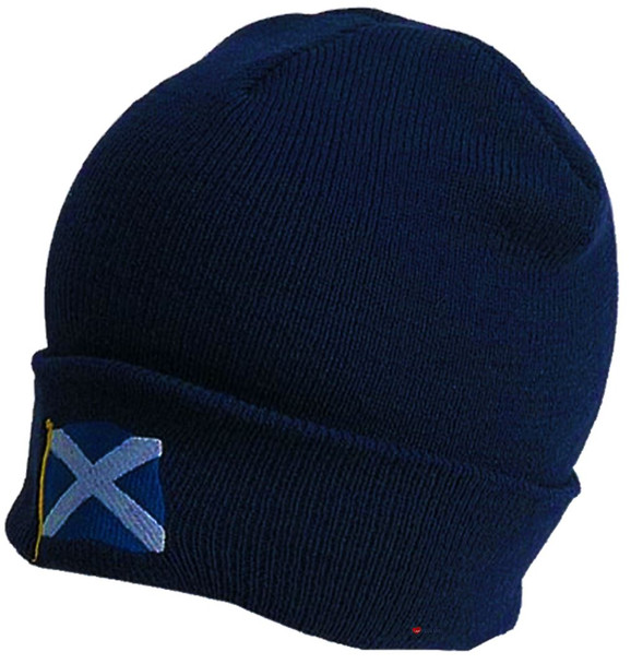 Navy Beanie Hat Saltire Scottish Design Scotland Design Beanie Cap